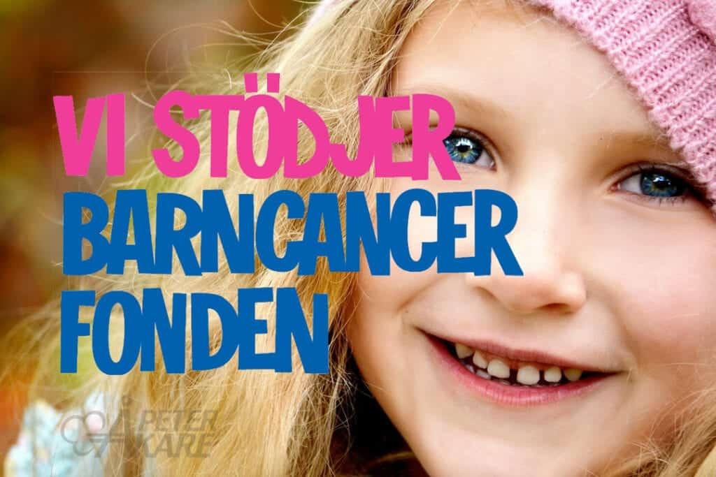Vi stödjer Barncancerfonden, logotyp och barn i bild