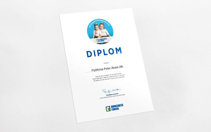 Peter Åkare Diplom Barncancefonden 2022